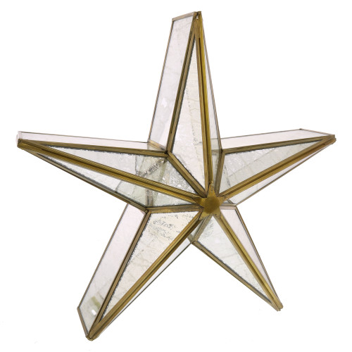 "14"" Mirrored Glass and Brass Star Candle Holder"