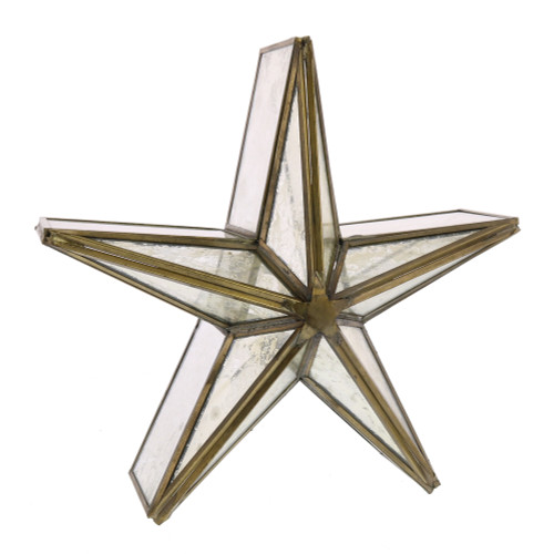 "11"" Mirrored Glass and Brass Star Candle Holder"