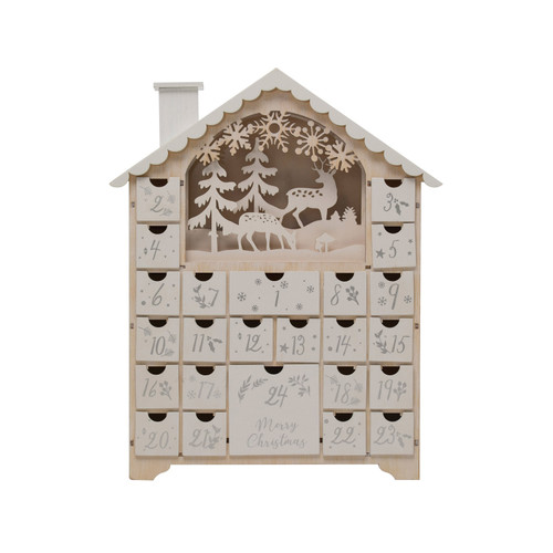 "16"" Advent Calendar with 3 LED Lights"