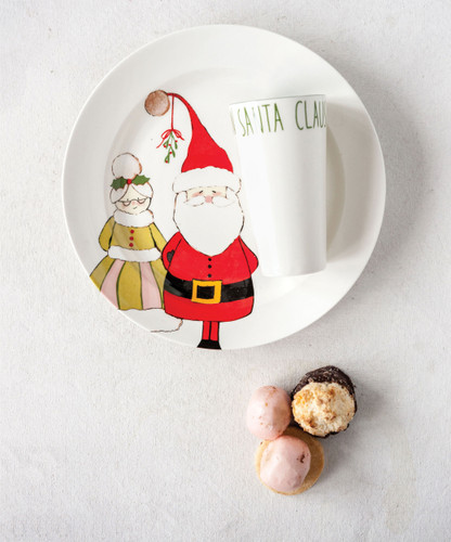 "11""Rnd Stoneware Plate w""Santa Claus and 8 oz. Cup - Set of 2"