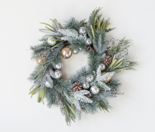 "26"" Artic Ice Artifical Pine Wreath w Pinecones & Ornaments"