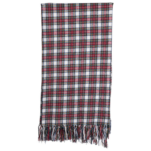 "60""L Cotton Throw with Fringe, Red & Green Plaid"