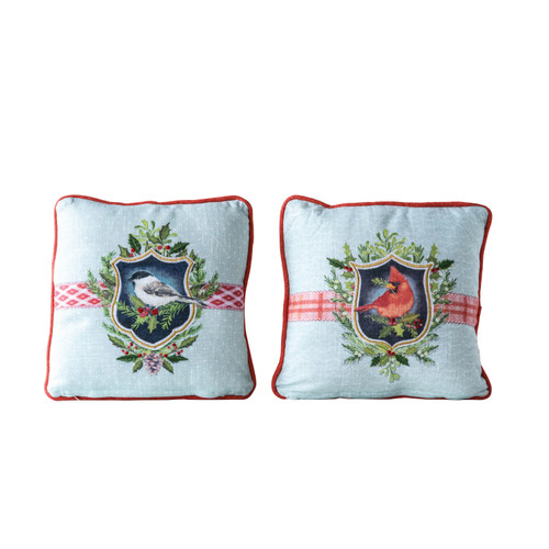 "12"" Square Cotton Pillow with Bird & Red Piping, Set of Two"