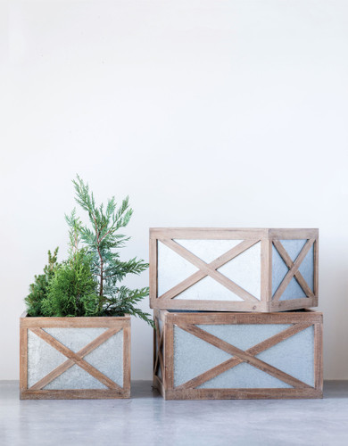 "28"" Sq. Metal & Wood Christmas Tree Boxes - Set of 3"