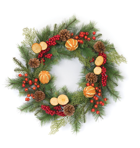 "21"" Pine and Dried Fruit Artifical Wreath"