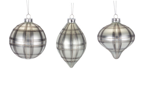 Plaid Glass Ornament - Set of three