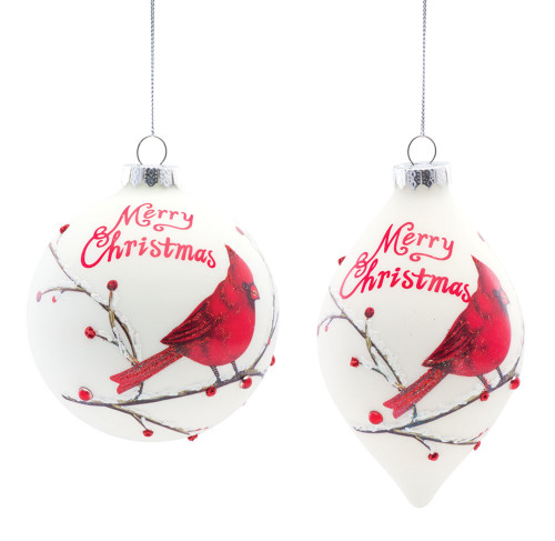 "6"" Glass Cardinal Ornament - Set of Two"