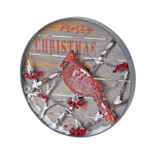 """14""""  Cardinal/Merry Christmas Metal/Wood Wall Decor"""