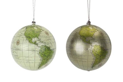 "4.5"" Globe Sage Green Ornament - Set of 2"