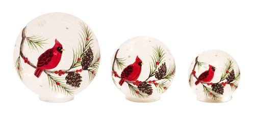Glass Cardinal Cardinal LED Spheres With 6HR Timer - Set of Three