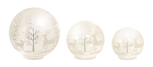 Glass Frosted Winter Scene LED Spheres With 6HR Timer - Set of Three