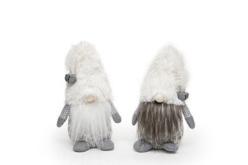 "9"" White Furry Gnome with Jingle Bells - Set of Two"