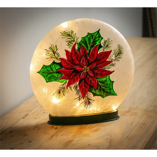 Glass Hand Painted Poinsettia LED Disc
