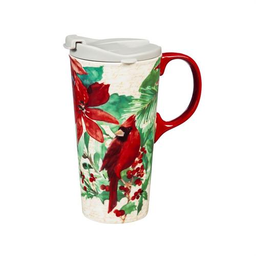 Ceramic Travel Cup, 17 OZ. ,w/box, Cardinal and Poinsettia