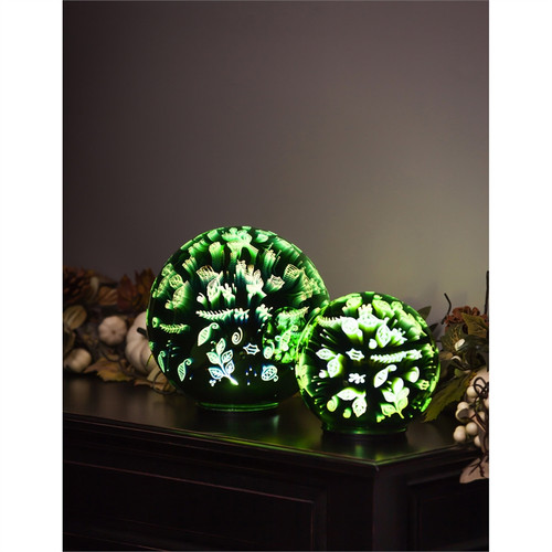 Stargazing 8'' LED Orb, Scattered Leaves (Set of 2)