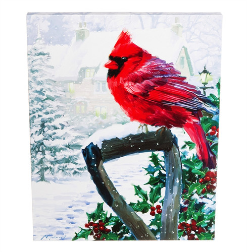 LED Canvas Wall Décor, Cardinal with Shovel