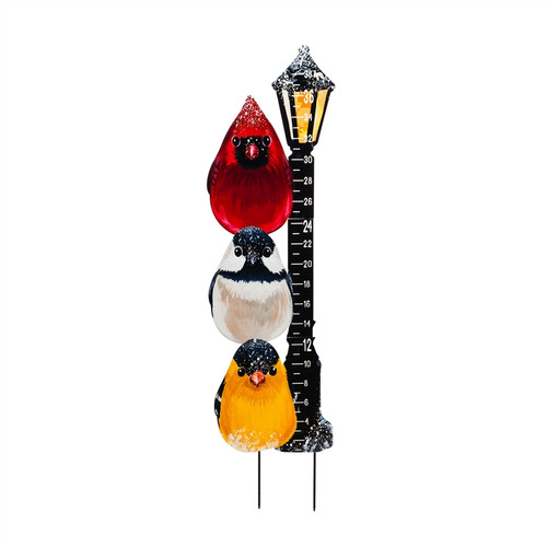 Portly Birds Light post Snow Gauge