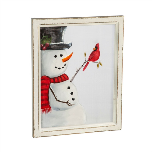 Snowman with Cardinal Hand Painted Screen Wood Frame Wall Décor