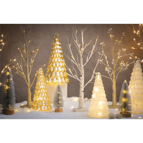 LED White Tree with Glitter, Set of 2