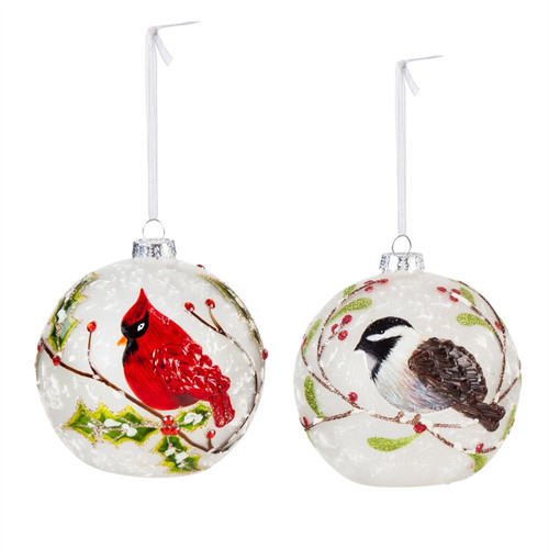Cardinal and Chickadee Glass LED Ornament, Set of Two