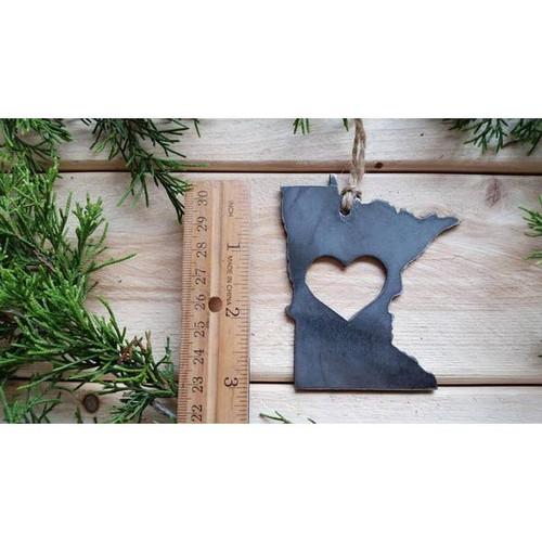 Love Minnesota Rustic Steel Christmas Ornament