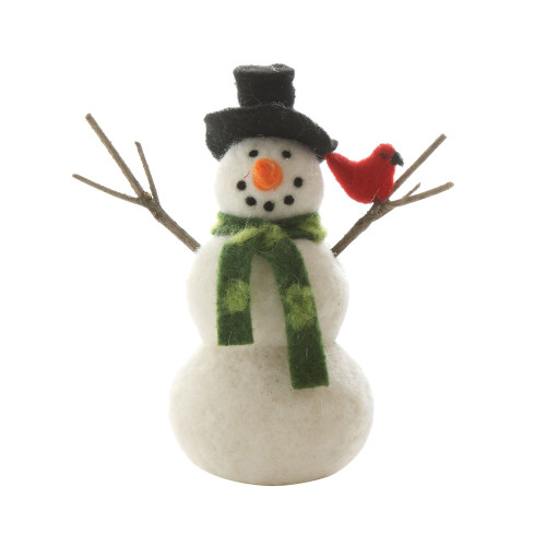 "7-1/2""H Wool Felt Snowman w/ Cardinal, White"