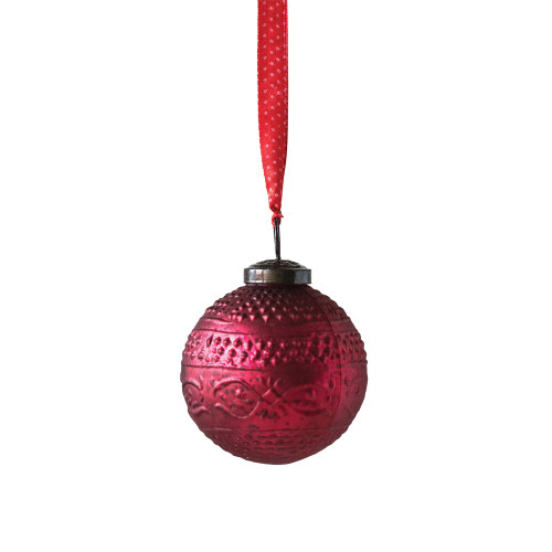 """3"""" Round Embossed Glass Ball Ornament, Matte Red - Set of 4"""