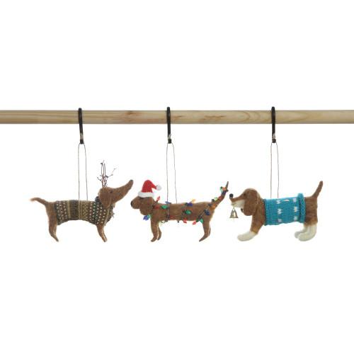 "3-1/2""H Wool Felt Dog Ornament,  Set of Three"