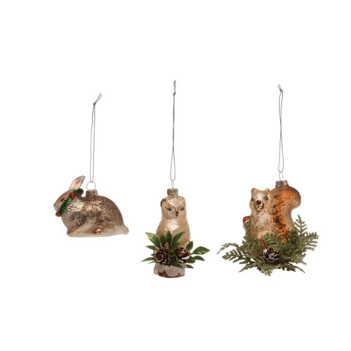 "3""L Glass Woodland Animal Ornament, 3 Styles, Set of 3"