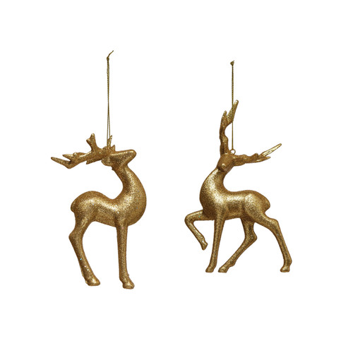 "6"" Resin Deer Ornament w/ Gold Glitter, 2 Styles- Set of 2"
