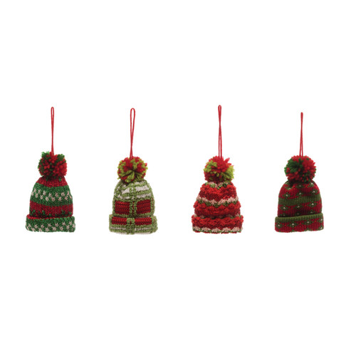 """4""""H Knit Fabric Winter Hat Ornament, Red & Green, 4 Styles - Set of Four"""