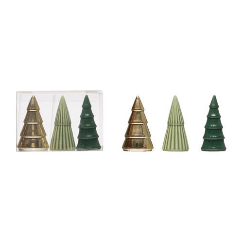 "3-1/2""H Porcelain Trees, Green, Gold & Sage Colors, Boxed Set of 3"