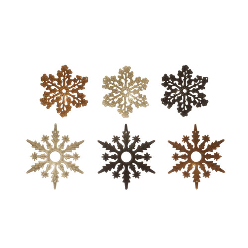 Ass't Flocked Snowflake Ornament, 2 Styles, 3 Color - Set of 6