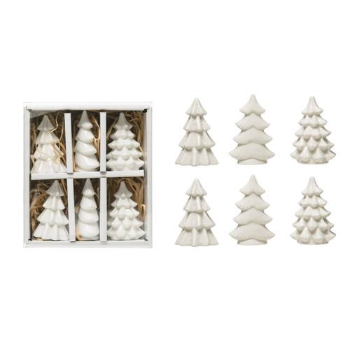 """2""""H Stoneware Trees, White, Boxed Set of 6"""