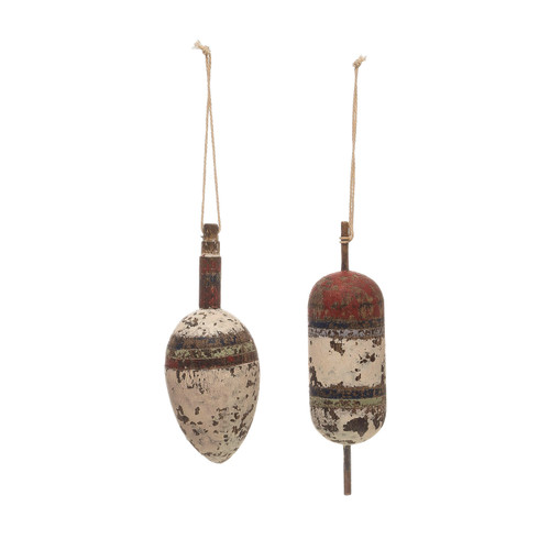 "5"" Hand-Painted Wood Float Ornament, 2 Styles- Set of Two"