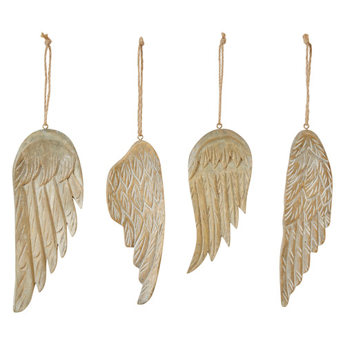 "8""H Hand-Carved Wood Wing Ornament, 4 Styles- Set of 4"