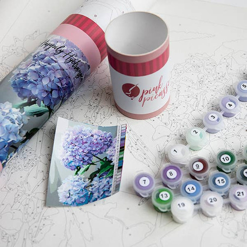 Happily Hydrangea Printed Canvas ~Paint by Numbers Kit