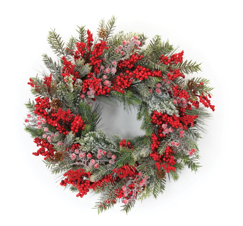 "23"" Pine and Berry Artifical Wreath"
