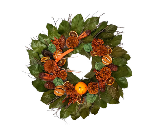"22"" Orange Clove Dried  Botanical Wreath by Madison's Gardens"