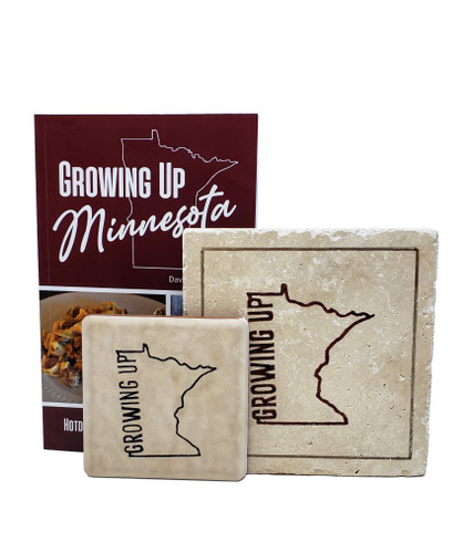 """Growing up Minnesota"" Hotdish Cookbook, Trivit and Coaster Gift Set"