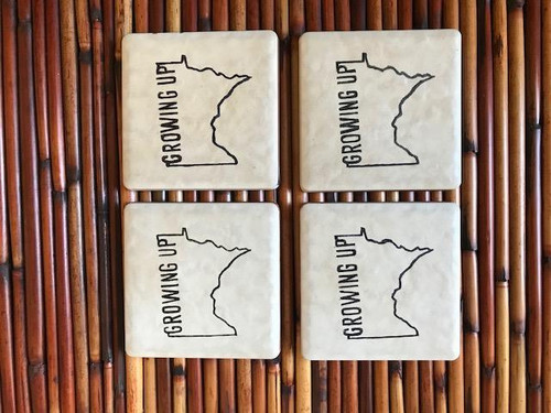 """Growing up Minnesota"" Coasters (Set of 4)"