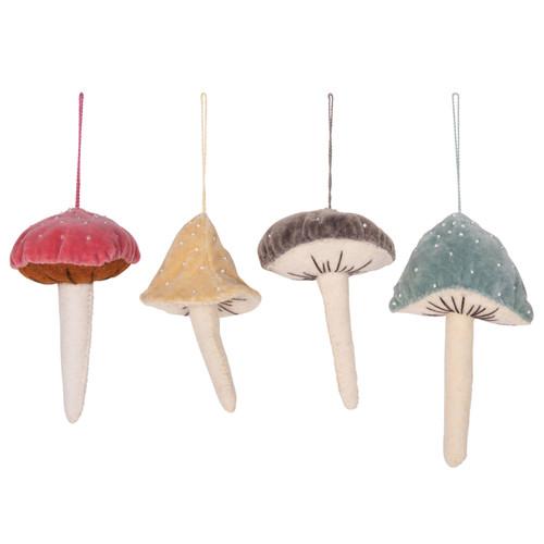 """5-1/2""""H Velvet Beaded Mushroom Ornament, Set of 4"""