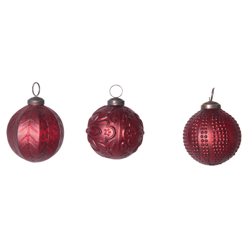 """3"""" Round Embossed Glass Ball Ornament, Matte Red, Set of 3"""