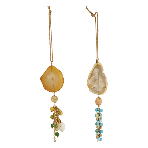 """7-1/2""""H Stone, Bead & Wire Ornament, Set of 2"""