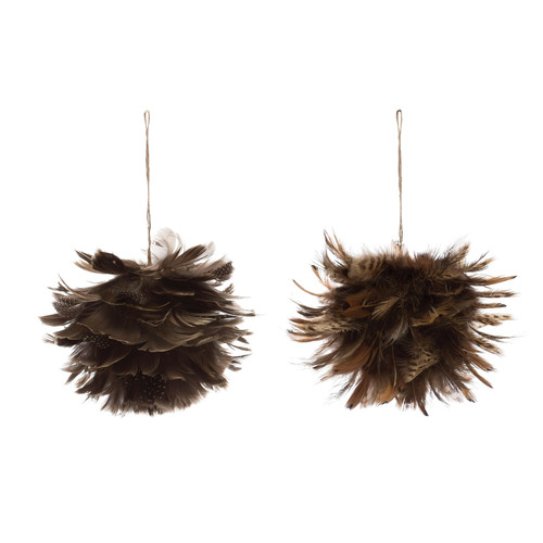 "4"" Round Feather Ball Ornament, Set of 2"