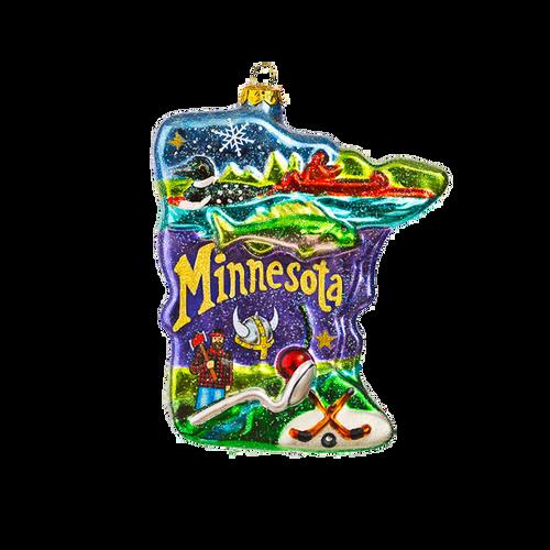 "5"" Giant Glass Minnesota Ornament"