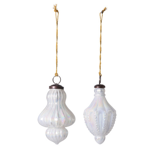 "5"" Glass Onion Final Style Ornament- Iridescent Milk Glass-Set of 2"