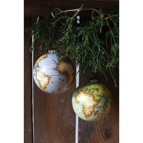 "4"" Round Globe Ornament, 2 Colors - Set of 2"