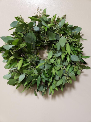 """20"""" Seeded Euc, Silver Dollar, Bay Leaf Wreath"""