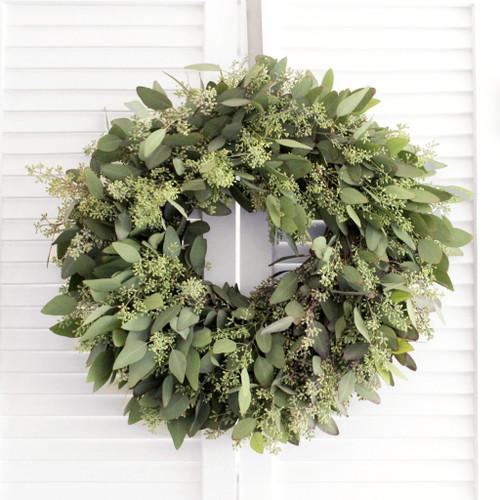 "20"" Olive, Naked Euc, Seeded Euc Wreath"